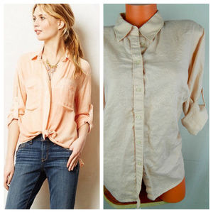 RALPH LAUREN 1X 16 18 Button Dwn SHIRT Peach LINEN